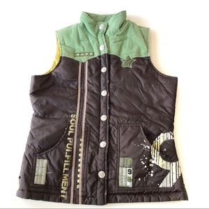 TRUE RELIGION•Puffer Vest Patchwork Green Brown L